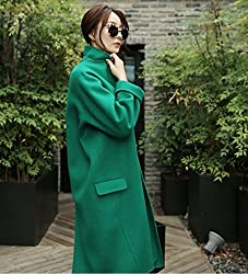MO Autumn and Winter Women 'S Jacket is Thin Loose Loose Long Cocoon Green Coat It by MO