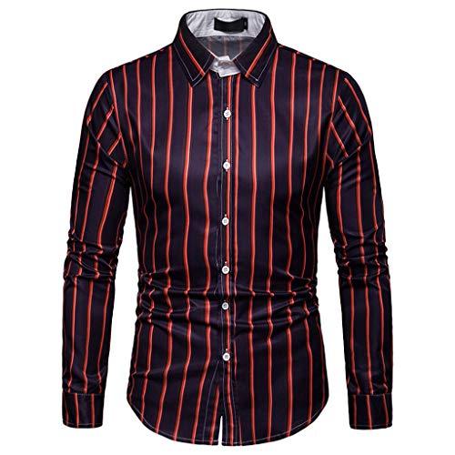 DNOQN Langarm Polo Herren Stylische T Shirts Herren Langarm Gitter Streifen Malerei Beiläufig Große Größe Top Bluse Shirts M