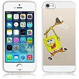 iPhone 5 Hülle, JAMMYLIZARD Transparentes Sketch Back Cover aus Silikon für iPhone 5 / 5s und iPhone SE, SpongeBob Schwammkopf