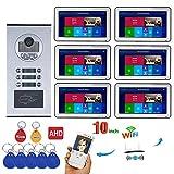 Sistemas de intercomunicación con video con cable 6 apartamentos de 10 pulgadas con sistema de videoportero Wifi de alta definición Cámara con timbre HD 720P