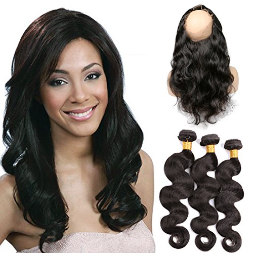SilkyLong 360 Brazilian Closure free part with 3 bundles Body Wave Virgin hair natural black human hair baby hair grade 9a natural color 14 16 18+12(360)