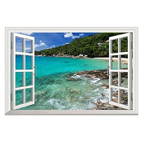 Longless Kleine Insel Strand grünes Wasser, Windows Wandaufklebern, Haus Wohnzimmer Dekoration