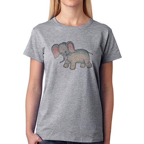 Little Sweet Elephant Pink Blue Damen T-Shirt Grau