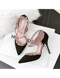 Xue Qiqi Tribunal Zapatos Sandalias Zapato de Baile Punta Noche Remaches Tacones Finos Chica con Sandalias de...