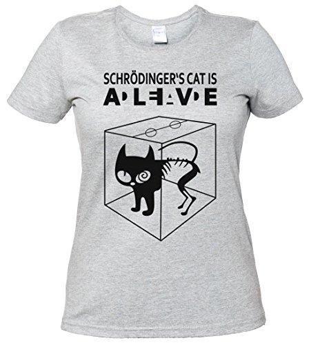 SCHRÖDINGERŽS CAT IS ALIVE DEAD I T-SHIRT WOMAN GIRLIE DONNA SHIRT - gatto The Big Schroedinger chat TV Bang Theory Geek Nerd Taglie S - 5XL