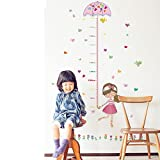 #4: UberLyfe Beautiful Little Girl Umbrella Heart Birds Height Chart Wall Sticker - 5.5 Ft. Size 3 (Wall Covering Area: 145cm x 75cm) - WS-001359