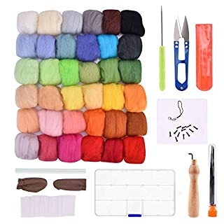 AUSHEN Needle Felting Kit for Beginners Wool Felting Set Fibre Wool Yarn Roving Kits for DIY Craft with 36 Colors Felting Wool
