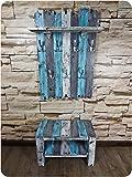 SHaBBy CHic ViNTaGe Holz Garderoben Set mit Sitzbank & XXL Garderobe mit 7x3 Metallhaken blau grau weiß (HXBXT: 115x7ox15 cm) aus Echtholz / Massivholz im used look ... rustikal Landhaus Stil (alternativ: Gaderobe , Gardrobe )