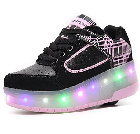 SIKAINI Baskets Enfants LED Chaussures Lumineuse À Roulettes Garçons Filles Sneakers Avec Roues Automatique De Patinage Chaussures Deux Roues