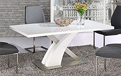 Modern MAYFAIR High Gloss Chrome White Metal 6 Seater Dining Table Only - low-cost UK dining table shop.