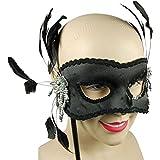 Lady Fancy Masquerade-Party Glamorous Seite Eyemask Feder, Schwarz