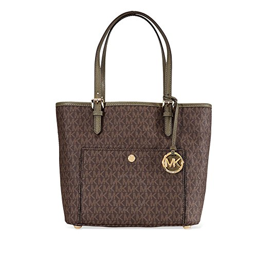 Michael Michael Kors Jet Set Medium Tote (Michael Kors Jet Set Medium Top Zip Logo Tote - Brown/ Olive)