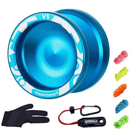 YOSTAR Metall Yoyo für Kinder Yoyo V3 MAGICYOYO - Langlebig & stabiles Responsives Yoyo + 1 1 Yoyo Handschuh + 5 zusätzliche Yoyo Saiten (Blau)