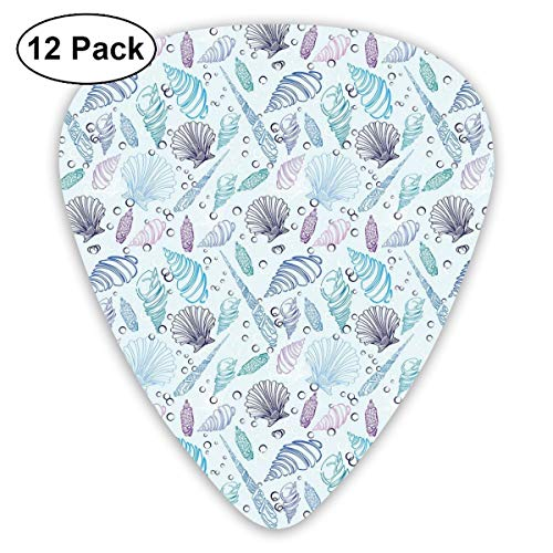 Celluloid Guitar Picks - 12 Pack,Abstract Art Colorful Designs,Various Sea Shell Pattern Underwater Bubbles Ocean Maritime Print,For Bass Electric & Acoustic Guitars.