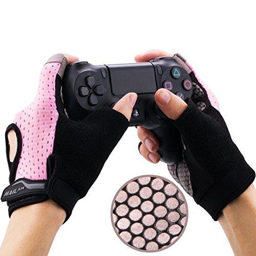 YoRHa Gaming Handschuhe Silikongriff Anti-Rutsch Anti-Schweiß Stoma Atmungsaktiv Design Perfekt bequeme Passform.Perfekt zum halten PS4,Xbox One,Switch und andere Game Controller(Rosa)L 4-4.3