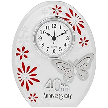 50 Years Marriage 50th Wedding Anniversary Mantle Clock Golden Hunky