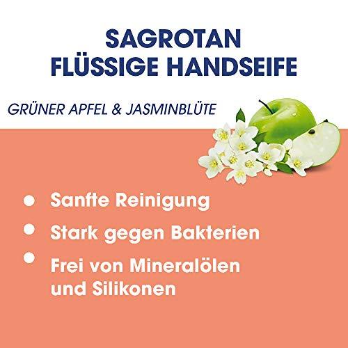 Sagrotan Handseife Grüner Apfel & Jasminblüte, Limited Edition - Antibakterielle Flüssigseife - 1 x 250 ml Seifenspender