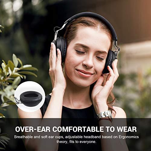 OneAudio Bluetooth 5.0 Kopfhörer, Kabellose Over Ear Kopfhörer mit eingebaute Mikrofon und Klarem Bass, Dual 40mm Treiber Verstellbare Blootooth Headset mit Soft Memory-Protein Ohrenschützer - 5