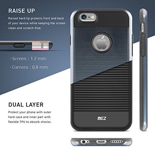 iPhone 6 Hülle, iPhone 6S Hülle, BEZ® Hybrid Silikon Stoßfest Handyhülle Slim Armor Drop Resistance Case Cover Etui für iPhone 6 und iPhone 6s - Schwarz Blau Navy
