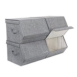 SONGMICS 4er Set Aufbewahrungsboxen mit magnetischem Klappdeckel, stapelbare Faltboxen mit Stoffbezug, Metallrahmen und seitlichen Griffen, für Accessoires, Spielzeug, Kleidung RLB04GY
