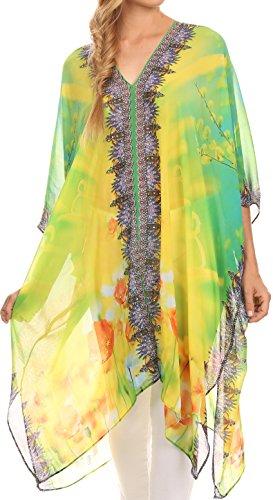 Sakkas KF2503293A - Livi Scoop V Neck Wide Long Mid Length Caftan Dress / Cover Up - Gelb / Grün-OS (Juwel Hals Gedruckt)