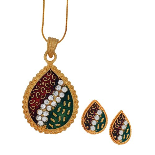 Spargz Designer Daily Wear Multicolor Brass AD Stone Snake Chain Pendant Set For Women AIPS 022