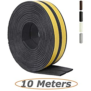Tavie 10 Meters Draught Excluders Seals, Rubber Seal Weather Strip Foam Tape, Sound Noise Insulation Insulating, Door Window Muffle The Noise Draught Strip Durable, I Type Black