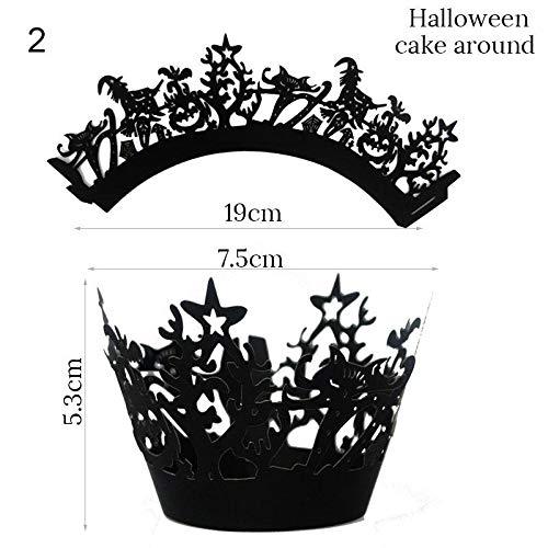 Jspoir Melodiz 12 Teile/Satz Halloween Kuchen Dekorationen Spiderweb Hexe Schloss Muster Dekorationen Halloween Dekorationen (B)