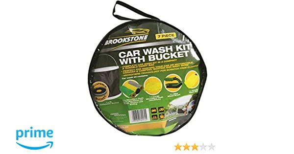 Cleaning Kits Brookstone Car Wash Complete Cleaning Set with Bucket & 6 Comprehensive Piece Car & Motorbike Care