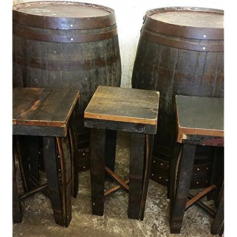 Reciclado (Madera de roble), estilo rústico barril de whisky bar Poser mesa y 4taburetes Set