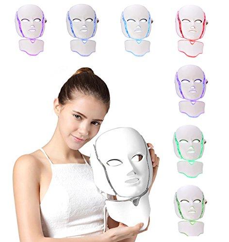 NBD® - Máscara de luz LED de 7 colores para fototerapia y rejuvenecimiento, con cuello