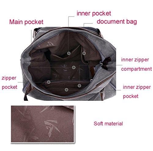 Super Modern Damen Leinwand Tasche Vintage Hobo Schultertasche bagcasual Crossbody Messenger Bag Handtasche weekener Bag für Schule, grau