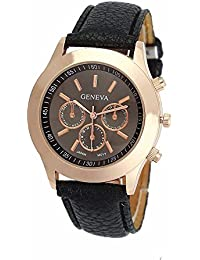 Geneva Small Black Dial Faux Leather Strap Analog Watch For Women, Girls