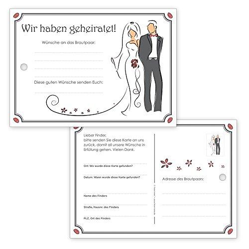 """Preisvergleich Produktbild 50 romantische Ballonflugkarten / Weitflugkarten """"Modern Style"""" für eine tolle Hochzeit - gelocht & extra-leicht"""