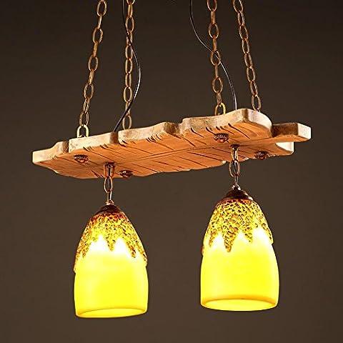 BJVB Lámparas de resina de personalidad Retro litera madera colgando de la horca de cafetería de lámpara restaurante dormitorio sala de estar . 1
