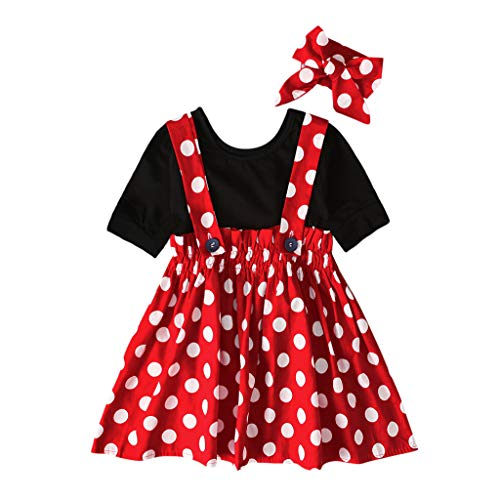 Baby Zirkus Kostüm Affe - Lazzboy Kleinkind Baby Kinder Mädchen Solide Tops Dot Geraffte Rock Dress Set Kleid Halloween Karneval Kostüm Partykleid Cosplay Faschingskostüm(Rot,Höhe:100)
