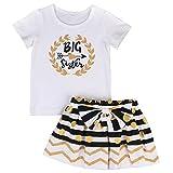 HBER 2-7 Años Hermana mayor Pequeño Niñas Manga corta camiseta + Raya Lunares Falda Regalos Conjuntos de ropa