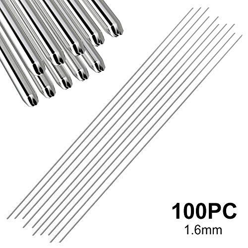 Adminitto88 - Varillas de reparación de Aluminio con Varilla de Soldadura de Aluminio, sin Necesidad de Polvo de Soldadura TIG, electrodos de tungsteno, electrodos de Aluminio, Plata, 1.6mm / 100pc