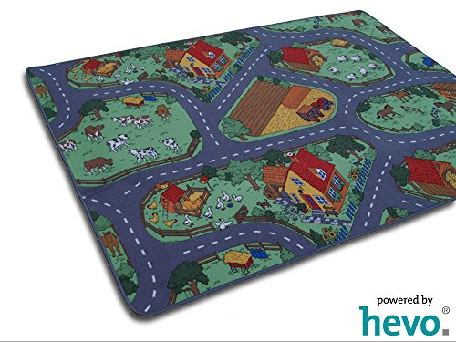 Bauernhof Teppich HEVO® Kinder Strassen Spielteppich | Kinderteppich 145x200 cm