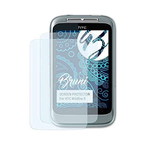 Bruni Schutzfolie kompatibel mit HTC Wildfire S Folie, glasklare Displayschutzfolie (2X) (Htc Wildfire S)