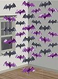 6-teiliges Decken-Deko Set * FLEDERMÄUSE * für Halloween oder eine Motto-Party // Kindergeburtstag Feier Fete Strings of Bats Fledermaus Horror Grusel Oktober