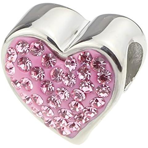 Hunter Jewelry Beads–Ciondolo croce con zirconi cristallo cuore & per 3mm pandora/Chamilia & Biagi/europea braccialetti