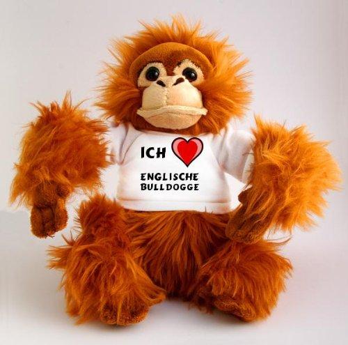 Orangutan Plüschtier mit einem T-shirt mit Aufschrift Ich Liebe Englische Bulldogge (Hunderasse) (Valentine Bulldogge Englische)