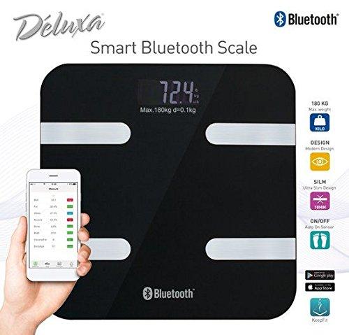 Körperfettwaage mit App, Smart Bluetooth digitale Personenwaage, Körperanalysewaage, Körperwaage mit körperfettanalyse, Körperfettüberwachung, Körperzusammensetzungs Analysator, BMI-Rechner (Schwarz)
