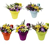 #8: Truphe Railing Pots, Garden Planters - Multi Color Set Of 5