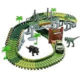 Pista Coches Flexible Juguetes con Dinosaurio Juego Electrónico para Niños 3 4 5 Años