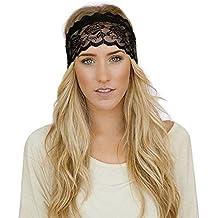 TININNA Cinta de cabeza?Elastic encaje Yoga Sports Headband Hairband Turban Head Band para correr, Viajar, Yoga, Pilates, balonvolea-hombres y mujeres de accesorios del pelo-nero