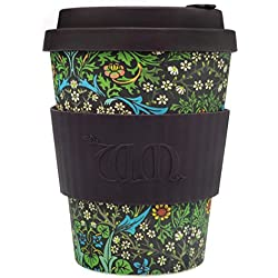 Ecoffee Cup Bamboo - 340 ml William Morris Blackthorn With Brown Silicone