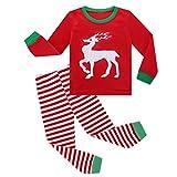 LEXUPE Mädchen Schlafanzug Giraffe Baumwolle Kinder Langarm Pyjama 98 104 110 116 122 128 134 140 146(I-Rot,1-2Jahre