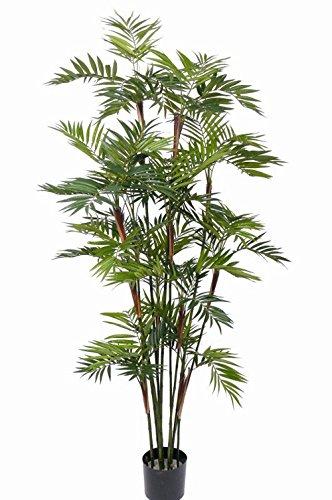 artplants Set 2 x Künstliche Bergpalme Nayeli, 1230 Blätter, grün, 200 cm – Kunstpalme/Deko Palme